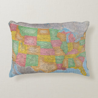 United States Map 3 Accent Pillow