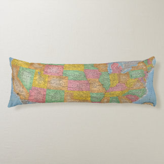 United States Map 3 Body Pillow
