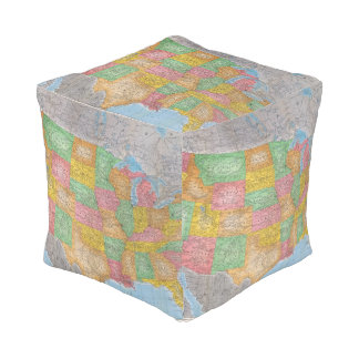 United States Map 3 Cube Pouf