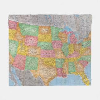 United States Map 3 Fleece Blanket