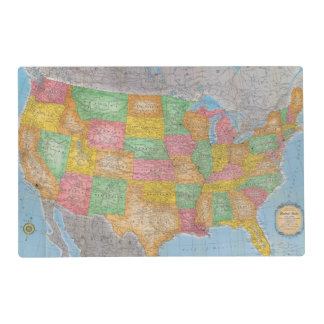 United States Map 3 Laminated Placemat