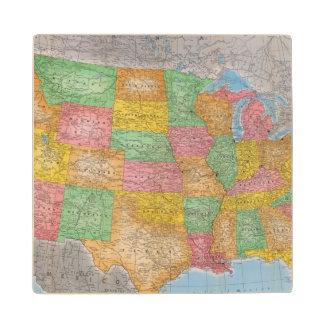 United States Map 3 Maple Wood Coaster