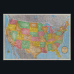 """United States Map 3 Poster<br><div class=""""desc"""">United States. By Rand McNally and Company (194). Published by &#39;&#39;Chicago: Rand McNally&#39;&#39;.</div>"""