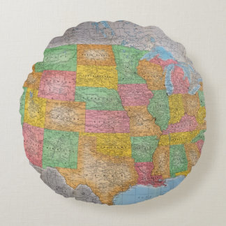 United States Map 3 Round Pillow
