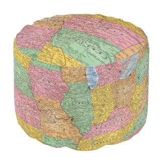 United States Map 3 Round Pouf