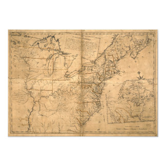 United States Map according to the Treaty of Paris Card