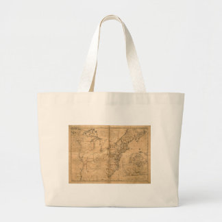 United States Map according to the Treaty of Paris Large Tote Bag
