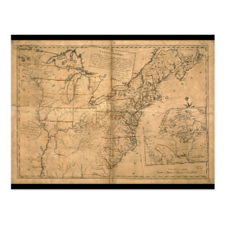 United States Map according to the Treaty of Paris Postcard