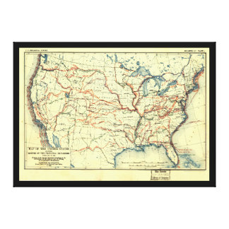 United States Map Explorer Routes 1501 to 1844 Canvas Print