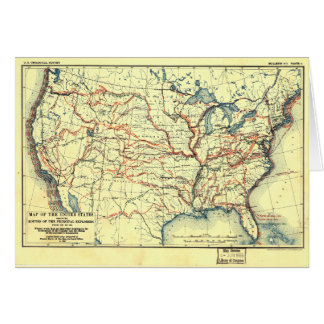 United States Map Explorer Routes 1501 to 1844 Card