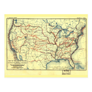 United States Map Explorer Routes 1501 to 1844 Postcard