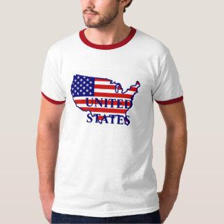 United States Map Flag Mens Red Ringer T-shirt
