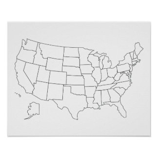 United States Map Posters Zazzle - Sketch drawing us with states map