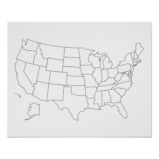 United States Map Outline Poster Zazzlecom - Black us map