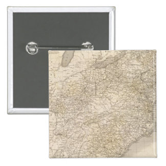 United States Map showing settlements 2 Inch Square Button