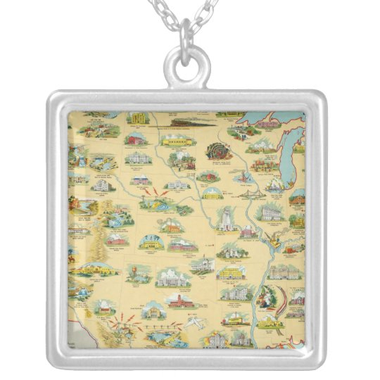 United States Map Silver Plated Necklace