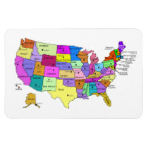 United States Map state names and capitals Magnet