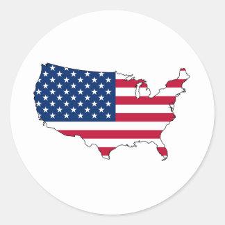 United States map US Classic Round Sticker
