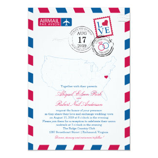 United States Map Virginia USA Airmail | Wedding Card