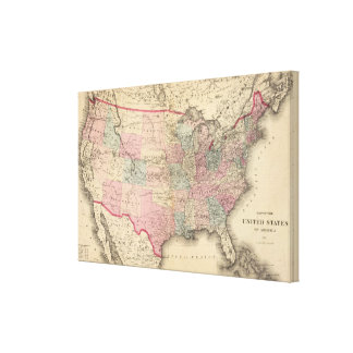 United States Map with Pony Express Route Canvas Print