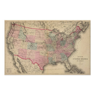 United States Map with Pony Express Route Poster