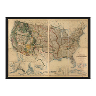 United States Map with Territories (1923) Canvas Prints