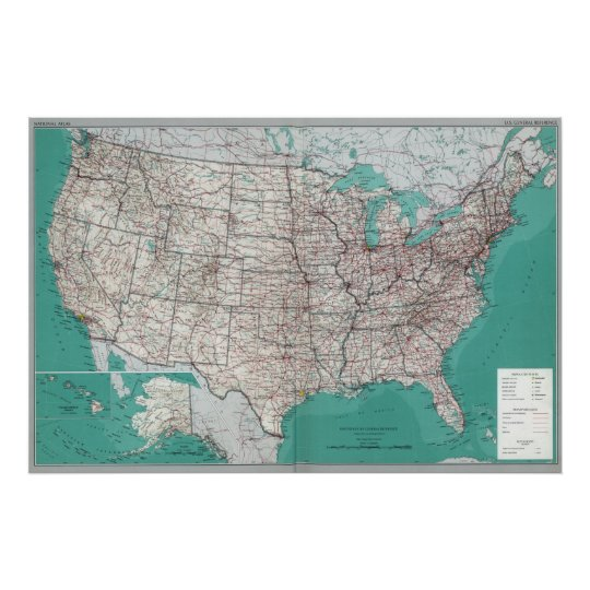 United States Maps Printed Road Map Poster Zazzle Com
