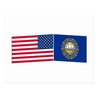 United States & New Hampshire Flags Postcard