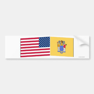 United States & New Jersey Flags Bumper Sticker