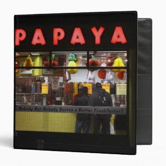 United States, New York. Gray's Papaya: window Vinyl Binder