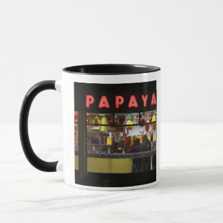 United States, New York. Gray's Papaya: window Mug