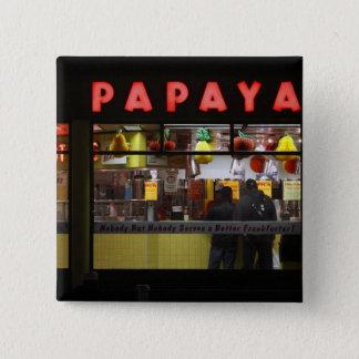United States, New York. Gray's Papaya: window Pinback Button