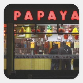United States, New York. Gray's Papaya: window Square Sticker
