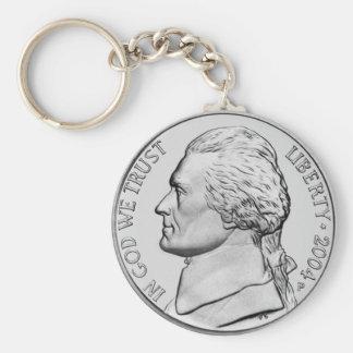 United States Nickel Money keychain. Basic Round Button Keychain