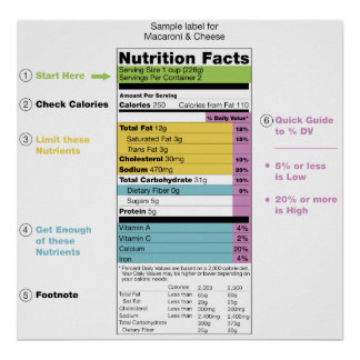 United States Nutritional Fact Label Detail Chart Poster