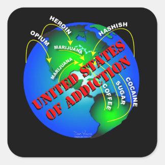 United States of Addiction Square Sticker