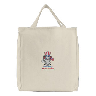 United States Of Ameowrica Flag Cat Embroidered Tote Bag