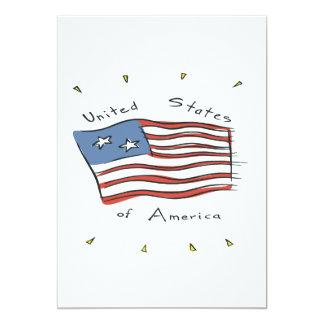 United States Of America 5x7 Paper Invitation Card