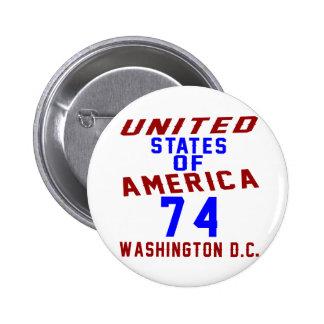 United States Of America 74 Washington D.C. Pinback Button