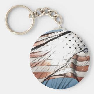 United States of America Basic Round Button Keychain