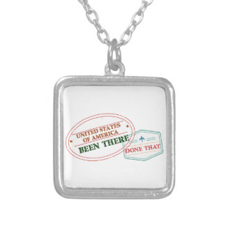 United States of America Been There Done That Silver Plated Necklace