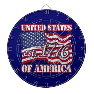 United States Of America est 1776 US Flag distress Dartboards
