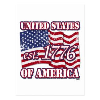 United States Of America est 1776 US Flag distress Postcard