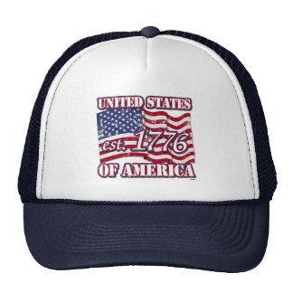 United States Of America est 1776 US Flag distress Trucker Hat