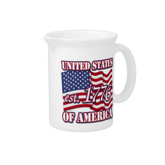 United States Of America est 1776 with USA Flag Beverage Pitchers