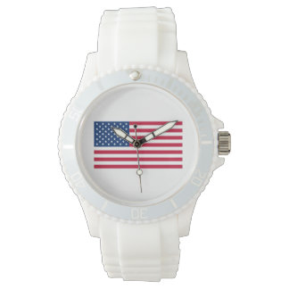 United States of America Flag Sporty Watch (white)