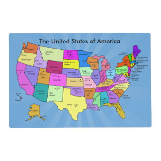 United States of America Geography Map Educational Laminated Placemat