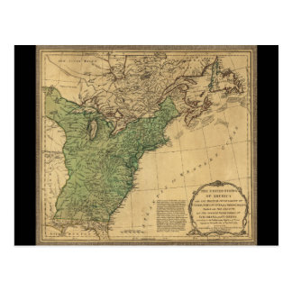 United States of America Map (1783) Postcard