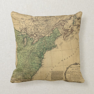 United States of America Map (1783) Throw Pillow