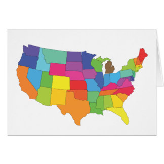 united states of america map greeting card